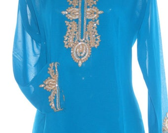 Sky Blue  Georgette Tunic Collar Neck Stone  Work Kurtis Full Sleeve  Top Dress