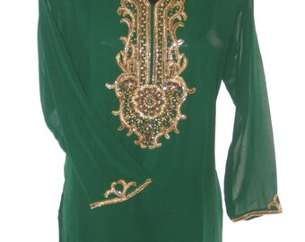 Women Green Georgette Tunic   V Neck  And  Sleeve  Stone Work  Kurtis  Top  Party Dress