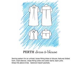 Perth dress/blouse pdf sewing pattern size 36-46