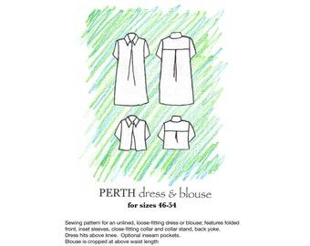 Perth dress/blouse pdf sewing pattern size 46-54