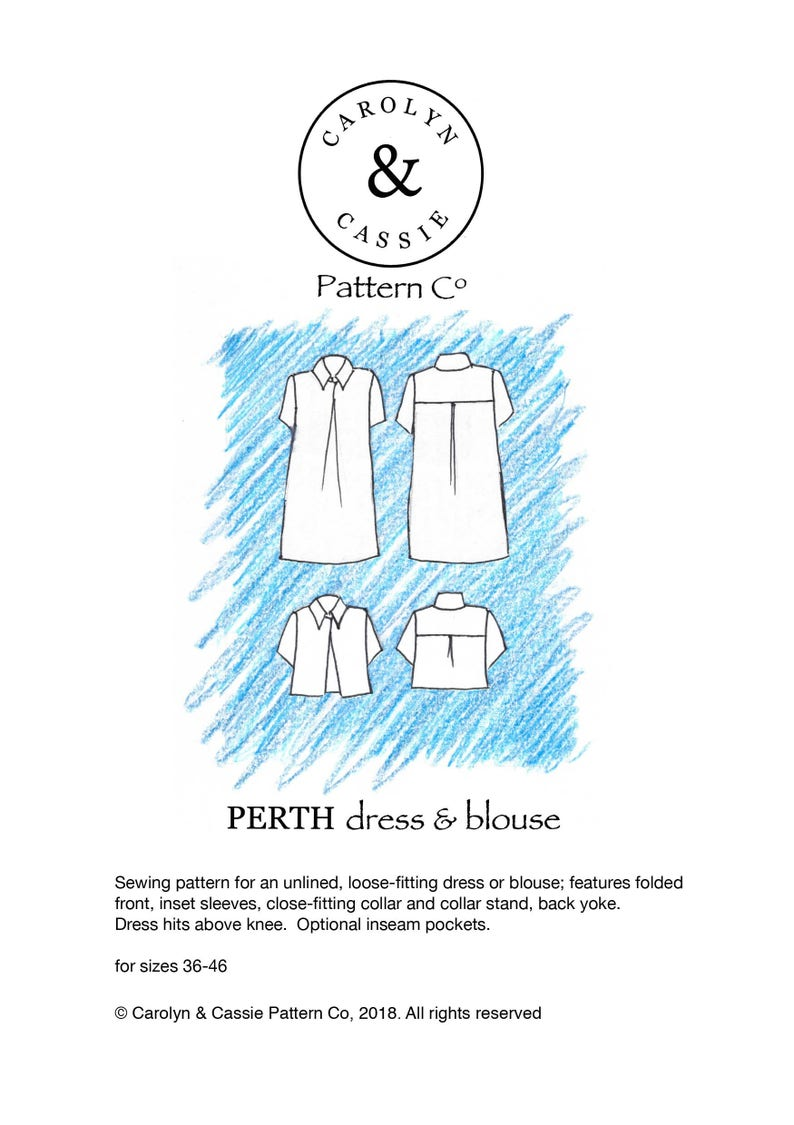 Perth dress/blouse pdf sewing pattern size 36-46 image 0
