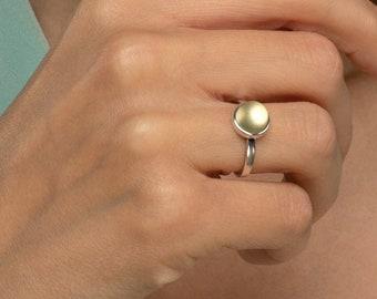 Yellow amber ring, Amber silver ring, Lemon ring, Lemon amber, Baltic amber ring, Delicate ring silver, Everyday ring silver, Yellow amber