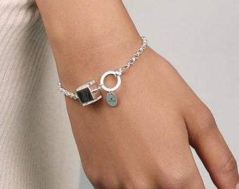 White Amber Silver Bracelet CUBICO