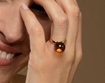 Baltic Amber Ring for Women GOLDEN LUNAR