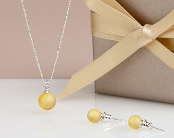 Matte amber delicate necklace and tiny bright stud earrings, minimalist lemon amber jewelry set, stylish Anniversary gift for her