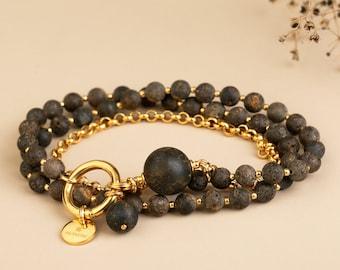 Amber bracelets set, double strand beaded amber bracelet, chain bracelet with large amber bead, unique amber necklace, modern necklace