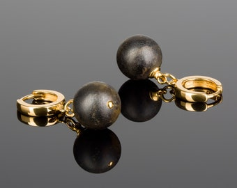 Black Amber Earrings GOLDEN NERO