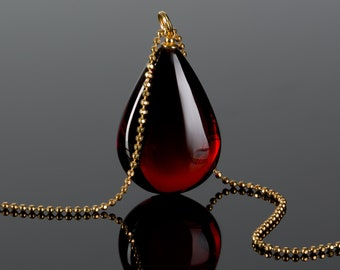 Deep red amber pendant, teardrop amber pendant, amber necklace for women, unique gift for her, Baltic amber jewelry, cherry amber