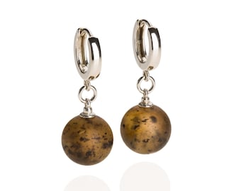 Black amber drop earrings with silver huggie clasp, unique gift for her, Anniversary Gift