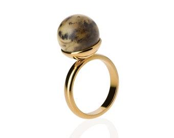 Black Amber Ring GOLDEN NERO