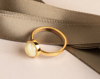 White Amber Ring AUREA
