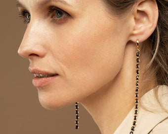 Extra Long Amber Earrings, Evening Earring for Women, Elegant Earrings with Amber, Faceted Gemstone Earrings for Women