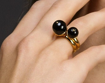 Personalized Amber Rings Duo MERLOT