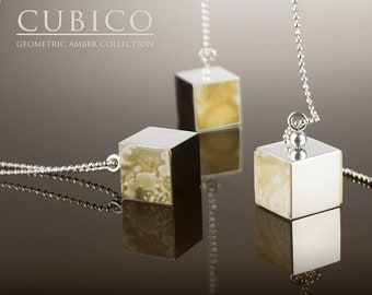 Amber Necklace with Cube Pendant CUBICO