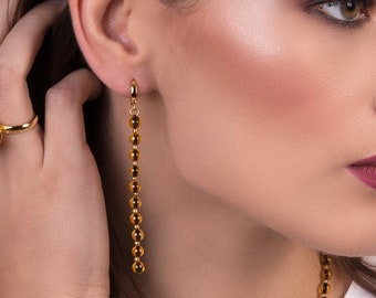 Long Dangle Earrings with Baltic Amber Beads