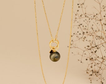 Layered and Long Pendant Necklace with Stone NERO