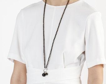 Long Black Amber Necklace GOLDEN NERO