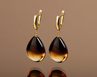 Amber drop earrings, Amber gold earrings, Amber teardrop, Cognac amber, Teardrop earrings, Honey amber drops, Long gold earrings