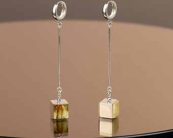 Long White Amber Earrings CUBICO