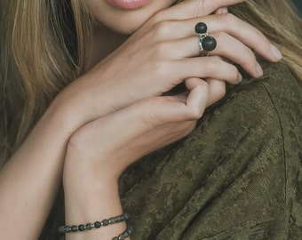 Natural black amber rings duo | Stacking rings with black gemstone | Modern silver ring with Baltic amber | Original ring from amber