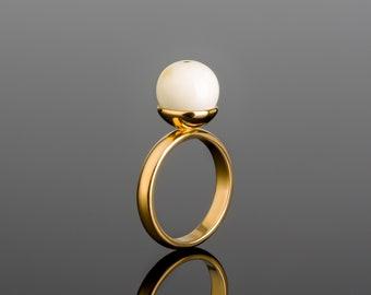 White Amber Ring ROYAL WHITE