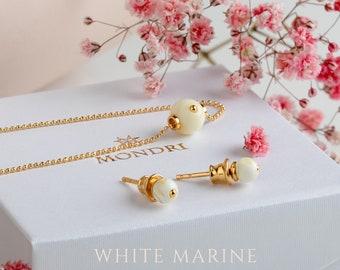 Amber set, White amber jewelry, White amber pendant, White amber earring, Amber gold pendant, White stone jewelry, Gold vermeil pendant
