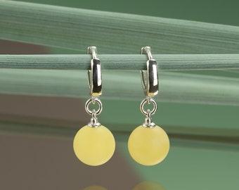 Yellow Matte Amber Earrings LEMON