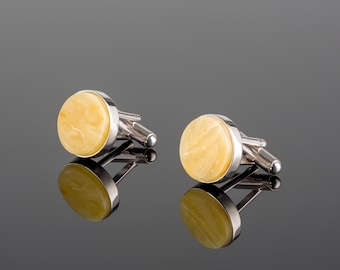 Personalized Silver Cufflinks with Baltic Amber MARCIPANO
