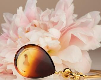 Honey amber pendant, Teardrop pendant, Honey amber, Cognac amber, Amber pendant gold, Baltic amber pendant, Amber gold, Long gold pendant