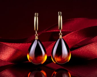 Cognac amber teardrop earrings HONEY DROP