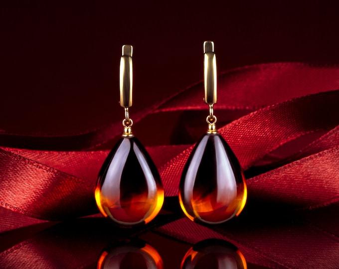 Featured listing image: Cognac amber teardrop earrings HONEY DROP