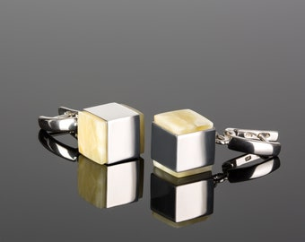 Cube earrings, Amber earrings, White amber earrings, Drop silver earrings, Long silver earrings, Earrings geomteric, White amber