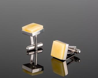 Amber cufflinks, Engraved cufflinks, Cufflinks initials, Baltic amber mens, Baltic amber jewelry, Silver cufflinks, Amber silver
