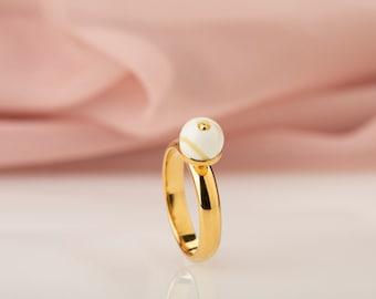 White amber ring 24k gold vermeil | Custom engraved ring | White gemstone statement ring from natural Baltic amber