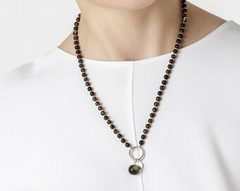 Black Amber Bead Necklace NERO