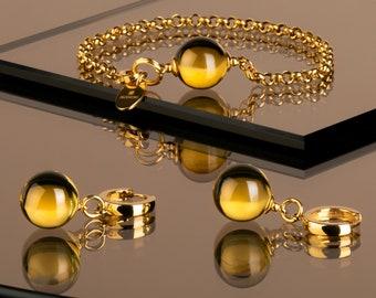 Amber set, Yellow amber, Amber drop earrings, Baltic amber set, Amber bracelet, Amber gold earrings, Amber gold bracelet, Cognac amber