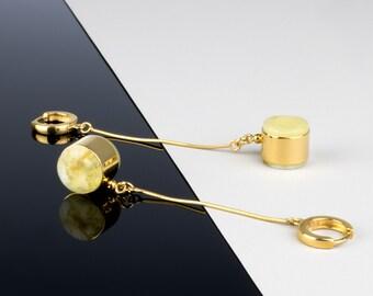 Long amber earrings, White amber earrings, Long stone earrings, Long modern earrings, Long silver earrings, Long white earrings