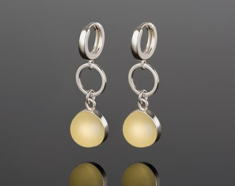Amber earrings, long silver earrings, yellow long earrings, drop earrings silver, silver amber, yellow stone jewelry, lemon amber
