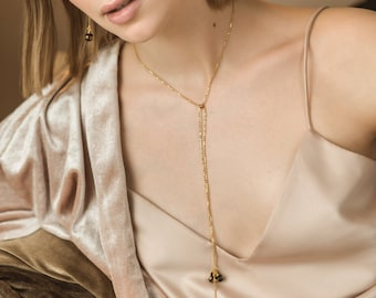Adjustable lariat necklace with faceted natural Baltic amber pendant and gold vermeil minimalist chain | Luxury minimalist lariat necklace