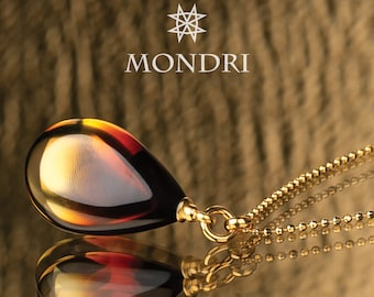 Cognac amber necklace, Honey Baltic amber pendant necklace, modern amber necklace with teardrop gemstone, Baltic Amber Necklace for Women