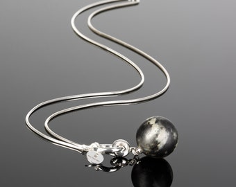 Black amber pendant, Black stone pendant, Silver amber pendant, Ooak pendant, Black silver pendant, Long black necklace, Long amber necklace