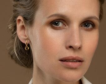 Baltic Amber Earring, Dainty Earrings. Raw Amber earrings, Baltic Amber Jewelry Gold Drop Earrings