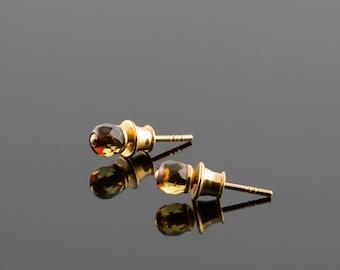 Luxury stud earrings, Natural amber studs, Amber in gold, Minimalist studs, Tiny amber ear stud, Tiny stone earrings, Amber in gold