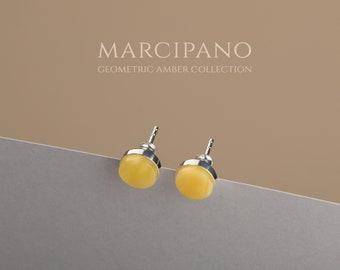 Amber studs, Tiny silver studs, White stud earrings, White amber, Baltic amber stud, Baltic amber jewelry, Round studs, Silver stud earrings