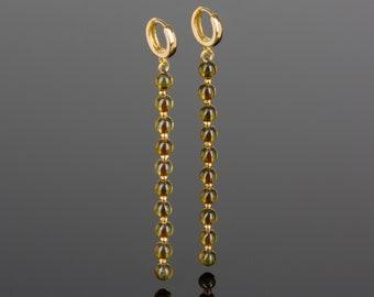 Long Dangle Earrings with Baltic Amber Beads, Statement Handmade Earrings of Yellow Amber Jewelry, Dangling Earrings, Novelty Earrings