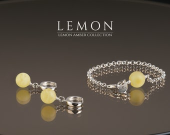 Baltic Amber Bracelet Earring Jewelry Set LEMON