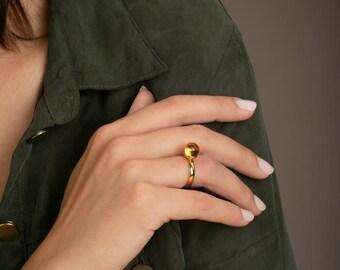 Baltic Amber Ring for Women GOLDEN LUNAR