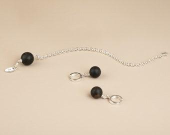 Amber set, Silver jewelry set, Mothers day jewelry, Black amber bracelet, Black amber earrings, Drop amber earrings, Rolo bracelet