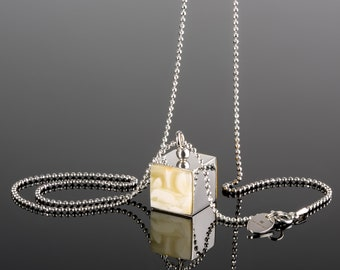 White amber pendant, Baltic amber pendant, Cube necklace, Square pendant,  Silver necklace cube, Long white necklace, white amber stone