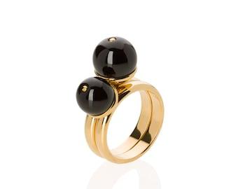 Personalized Amber Rings Duo MERLOT